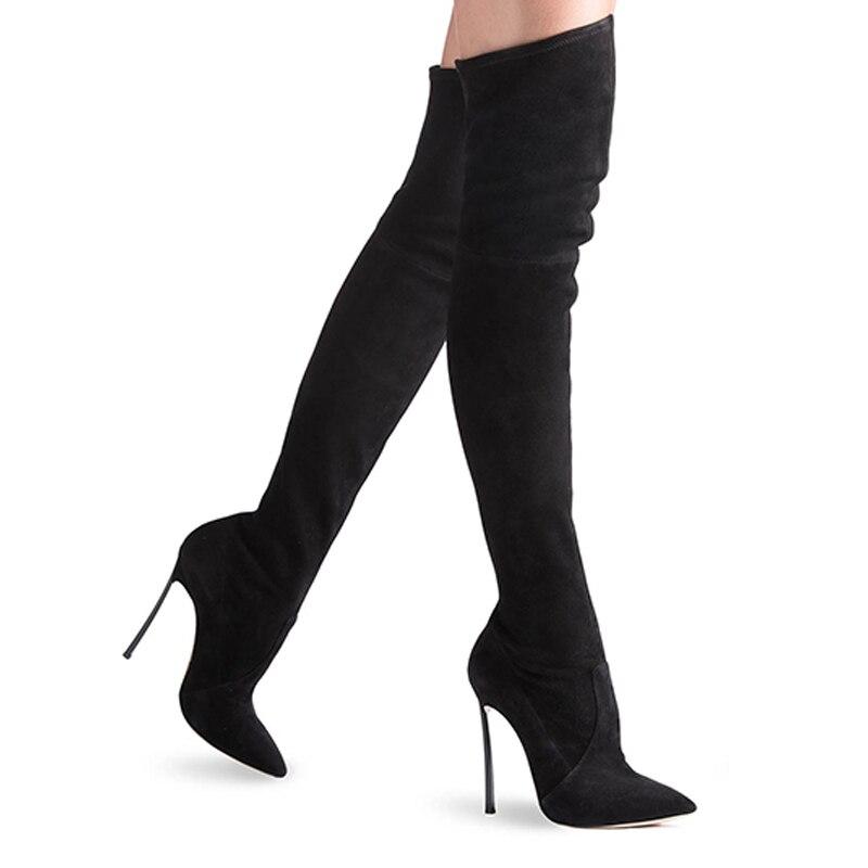 De Mode khaki Genou Mince Haute Sexy Femmes Daim Chaussures Sur D'hiver Black brown Le Carollabelly Femme En Bottes qv1PWwaXRX