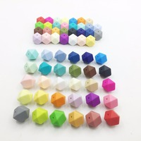 Silicone Geometric Candy Color Beads 50PC 17mm Silicone Teething Hexagon beads For Baby Teether BPA Safe Loose Beads