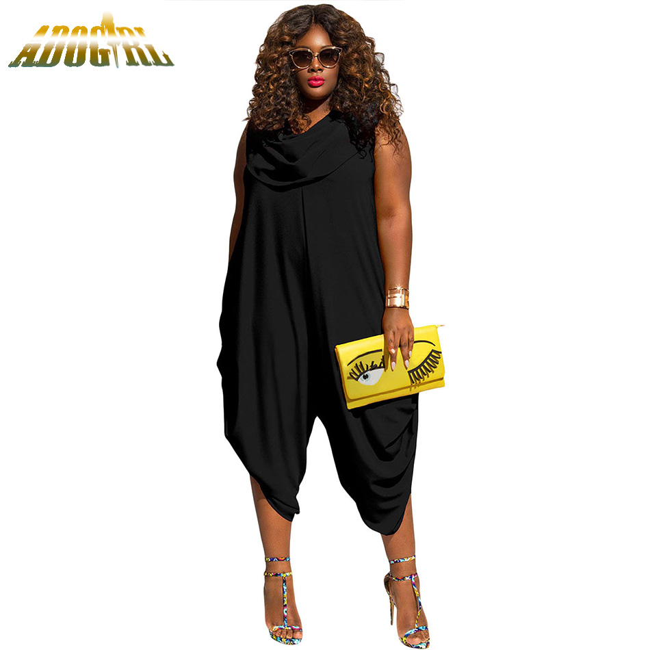 Adogirl Women Summer Plus Size 3XL Jumpsuits Fashion Party Sleeveless Rompers Casual Womens Macacao Feminino Overalls Romper