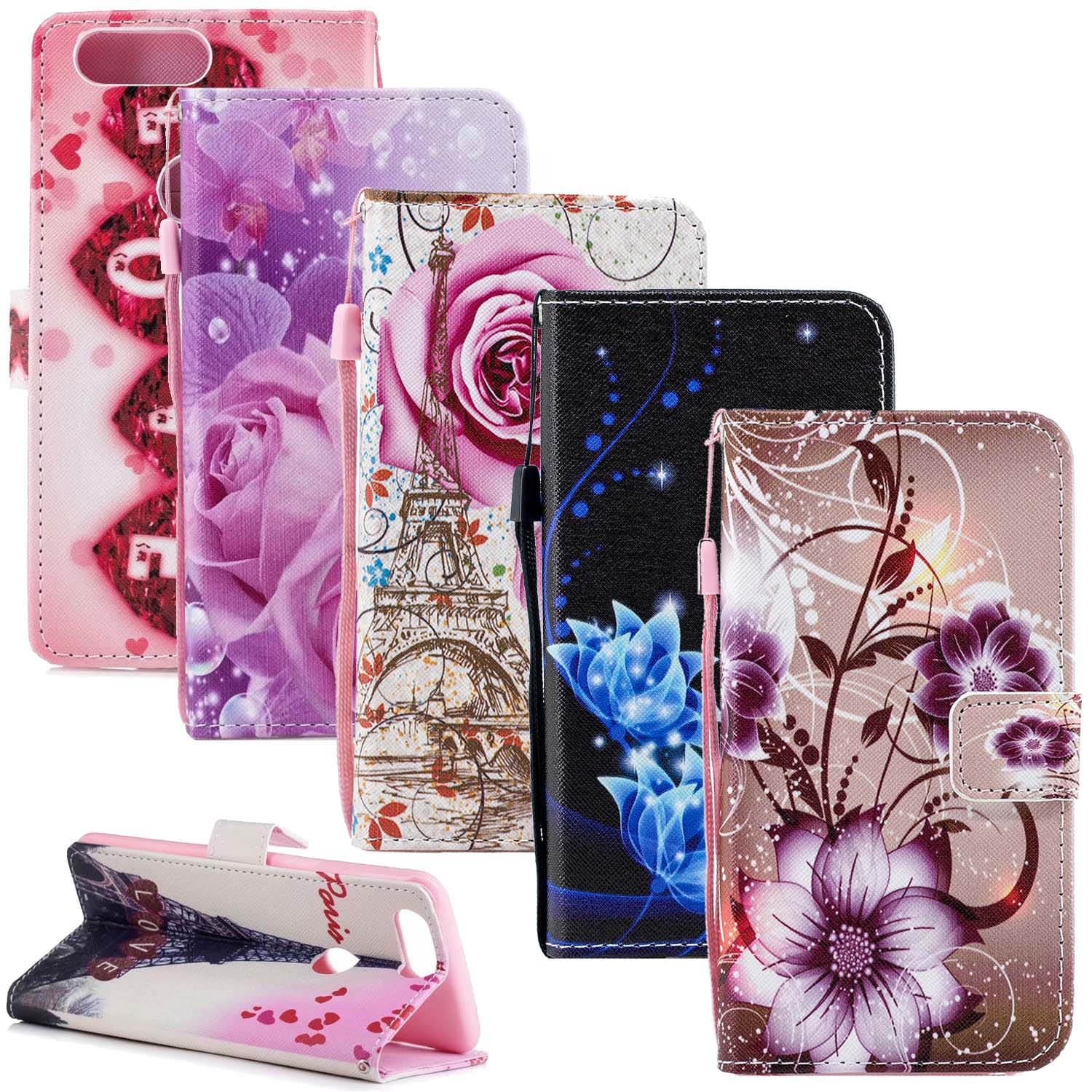 One Plus 5T 6T Flower Leather Cases For <font><b>Oneplus</b></font> 6T A6010 <font><b>A6013</b></font> Case <font><b>Oneplus</b></font> 5T A5010 Flip Cover 1+ 5T 6T Wallet Phone Bag Coque image