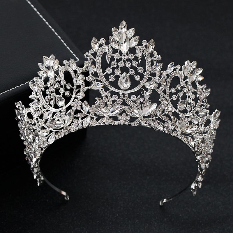 Европейская барокко сверкающие кристаллы большая свадебная тиара Корона Стразы Корона Свадебные аксессуары для волос