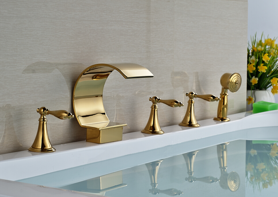 Golden Big C Shape Waterfall Bathtub Faucet Deck Mount 5 PCS Bathtub Mixer Taps