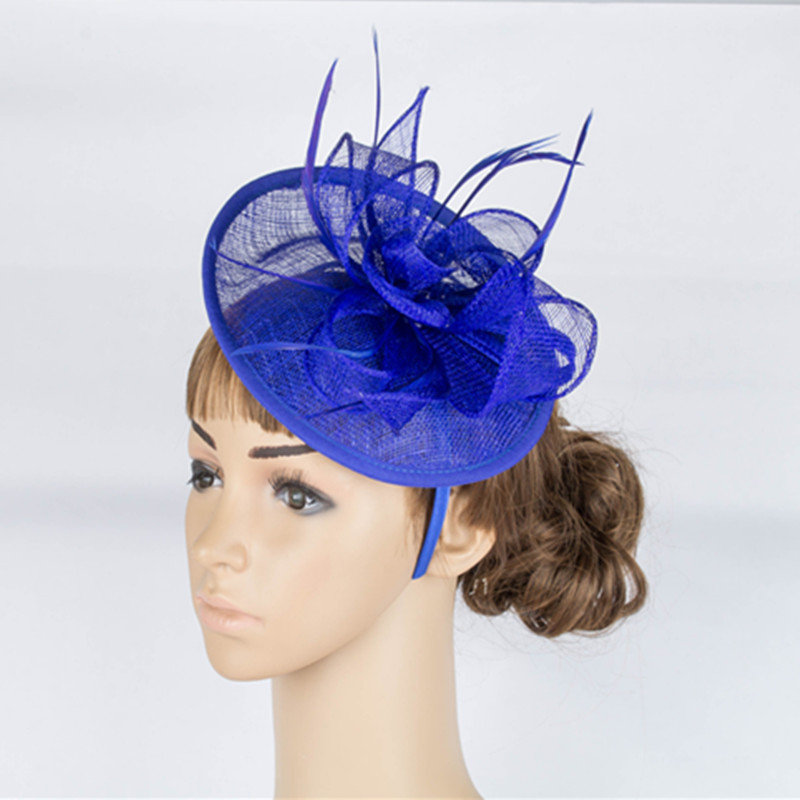 Classic European Style Orange Hot Pink Royal Blue Women Tea Evening Party Fascinator Headband Flower Sinamay Feather Headdress free shipping high quality 2015 mini disc flower sinamay fascinator with feather for race