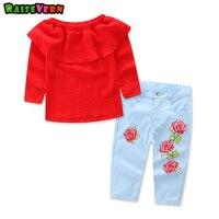 אור אדום שרוול ארוך חליפות ילדי אופנה + הפרחוני צפצף הכחול 2 יחידות ילדה ערכות בגדים אירופאי ואמריקאי סגנון