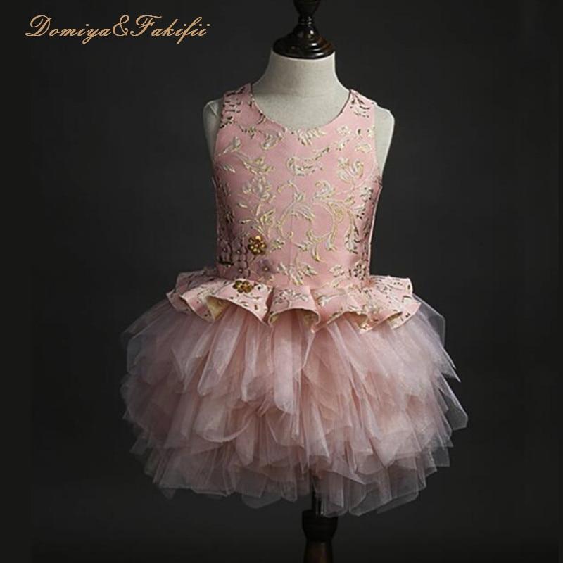 все цены на 2018 Summer Flower Girl Royal Pink Dresses Beaded Flower Lace Applique Layered Dresses First Communion Dress for Girls Vestidos