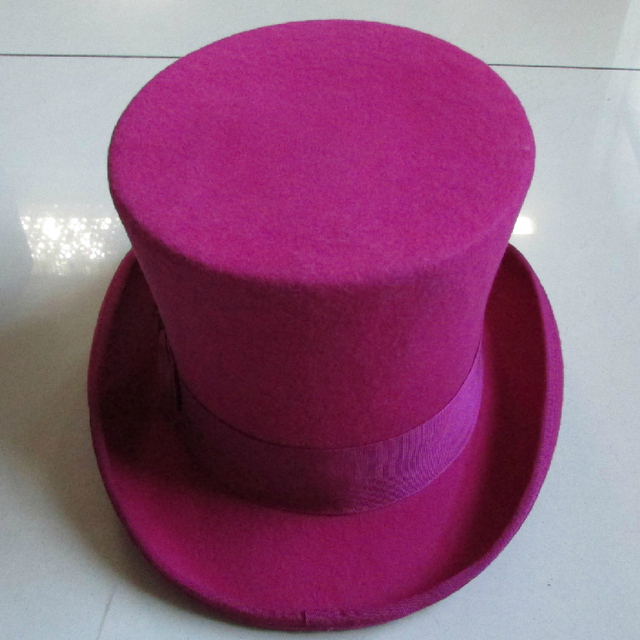 cf0e19bff5c LIHUA Women Party Fashion Wool Tophats Men s Flat top hats 100% wool derby  hat felt 18cm 7inch bowler hat Magic Hat