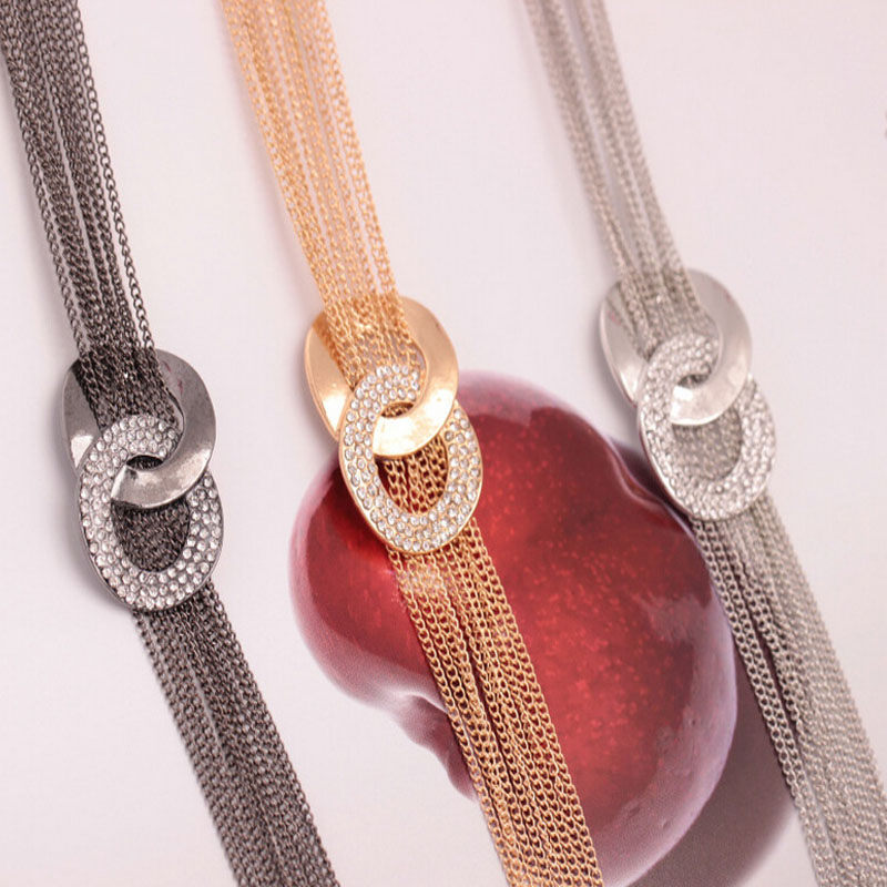 New Fashion Luxury 8 Word Shaped Gold Color Tassel Pendant Necklace Charm Long Sweater Chain Women Jewelry Gift