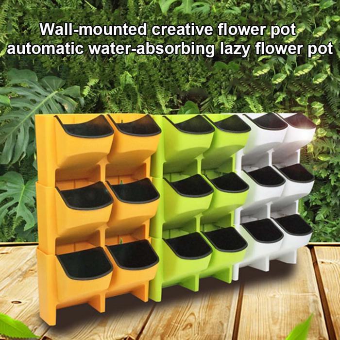 Selbstbewässernder Blumentopf Stapelbarer Wandpflanzer Garten Plastiktöpfe W00e