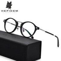 Ацетат оптических Очки Рамки Для мужчин металлические мелкие Винтаж круглый рецепта Очки 2018 модные женские туфли миопия очки