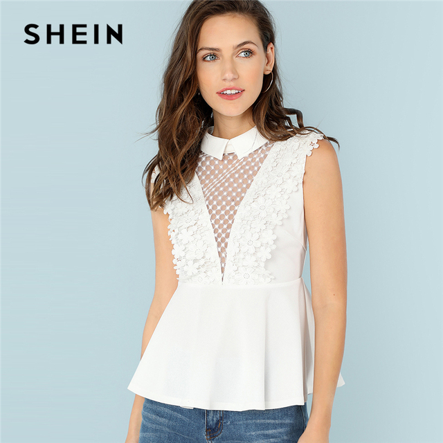 d431ce2b8e56f SHEIN White Office Lady Minimalist Guipure Lace Insert Zip Back Peplum  Contrast Mesh Blouse Summer Modren Women Casual Shirt Top