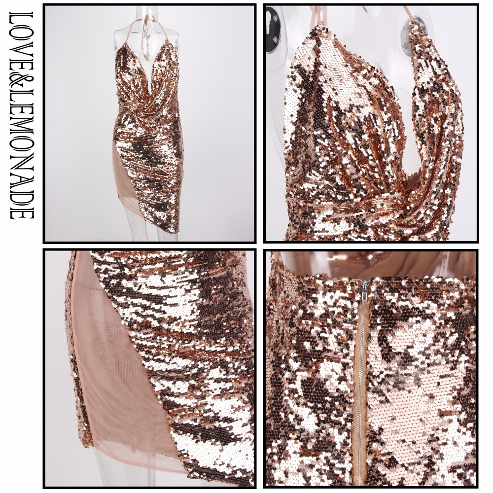 Love Lemonade Rose Gold V Neck Open Back Sequined Party Dress LM0619-in  Dresses from Women s Clothing on Aliexpress.com  3f904e976339