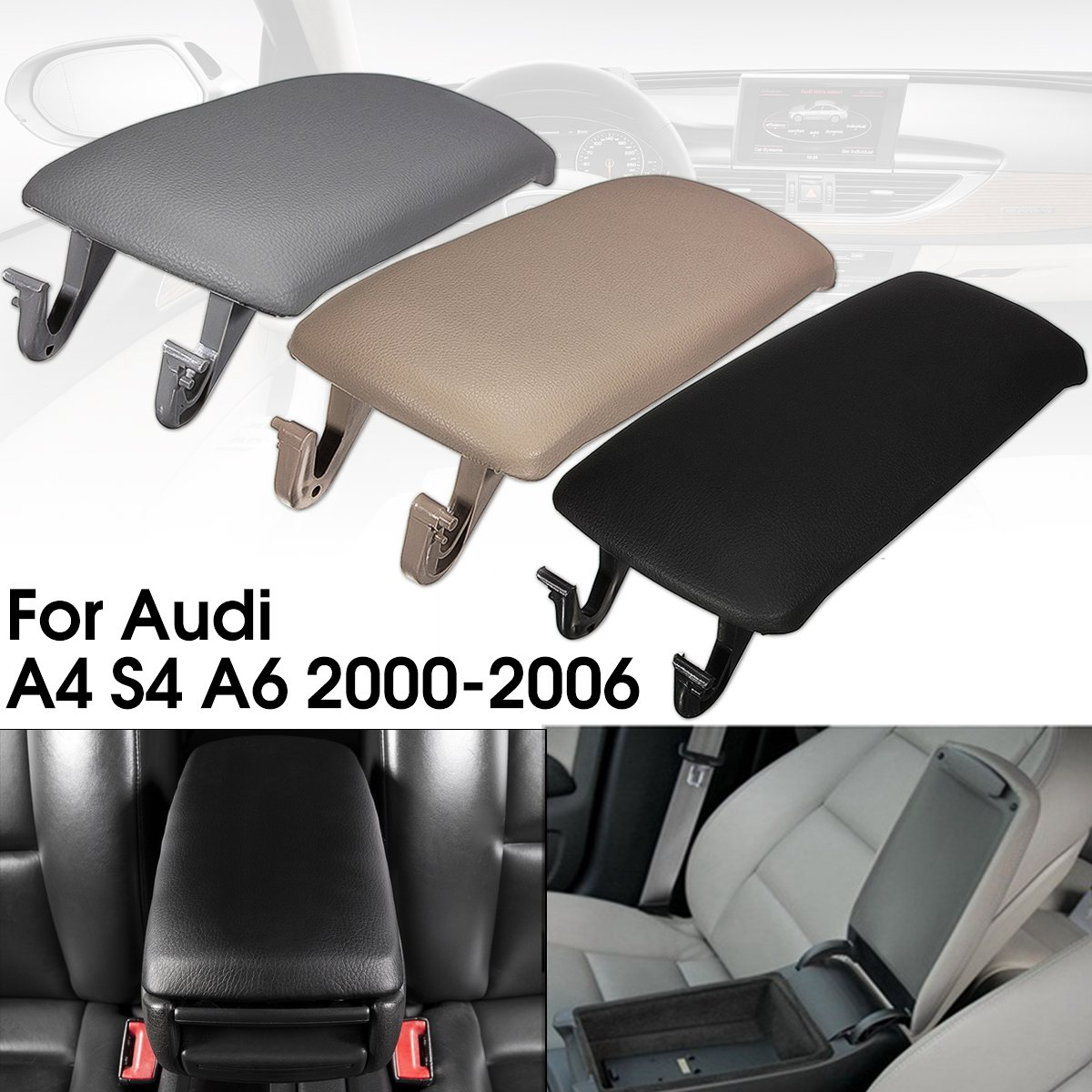1PC Auto Car Leather Armrest Cover + Center Console Lid Cover For Audi A4 S4 A6 2000 2001 2002 2003 2004 2005 2006 купить в Москве 2019