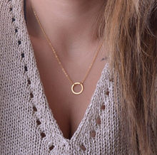 2018 Hot Fashion Casual Personality Circle Lariat Pendant Gold Color Necklace High Quality Simple Choker Necklaces For Women(China)