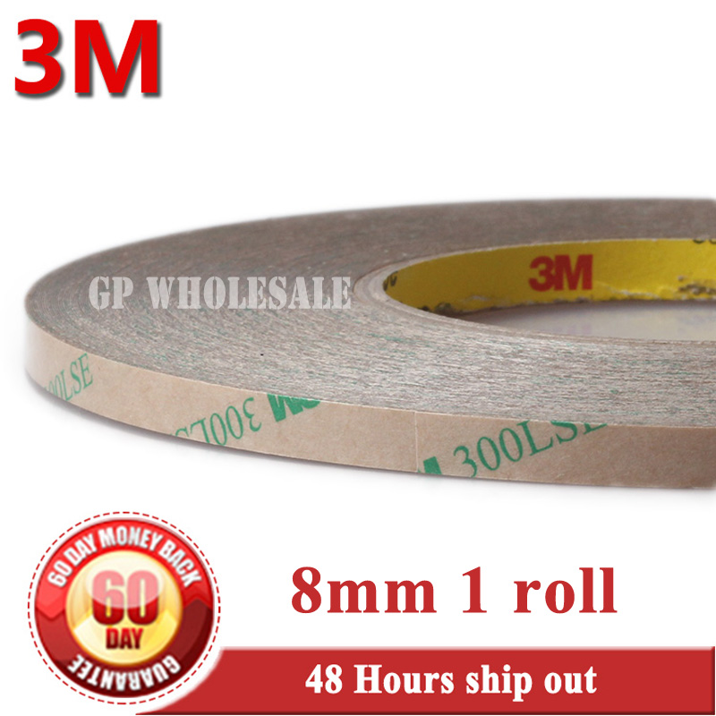 1x 8mm*55M*0.17mm 3M 300LSE PET Strong Sticky Double Sided Adhesive Tape for Phone Display LCD Screen Frame Digitizer Bond 2rolls 1mm 5mm 5m strong pet adhesive pet red film clear double sided tape no trace for phone lcd screen free shipping