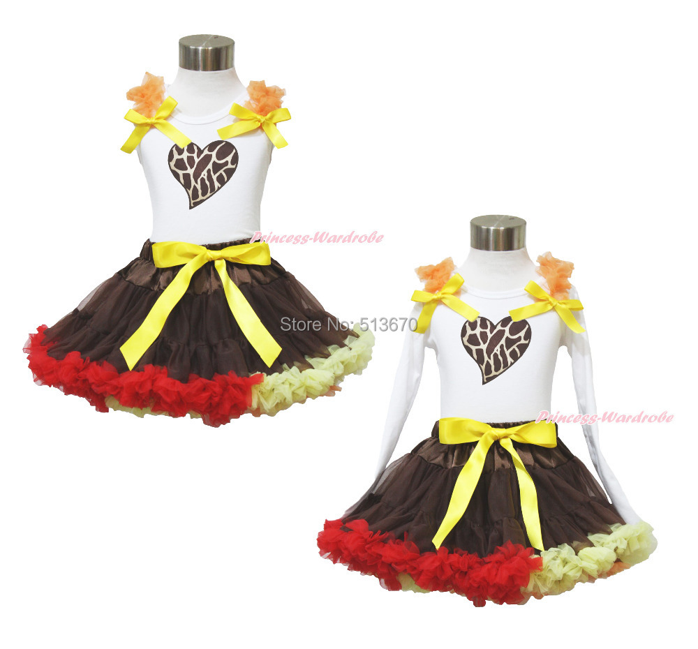 Valentine's Day Giraffe Heart White Top Brown Pettiskirt Baby Girl Outfit 1-8Y MAPSA0031 xmas red orange yellow black roses brown top baby girl pettiskirt outfit 1 8y mapsa0038