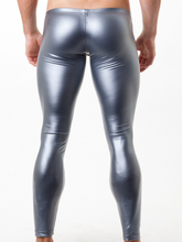 Elastic Silver and Gold Faux Leather Leggings