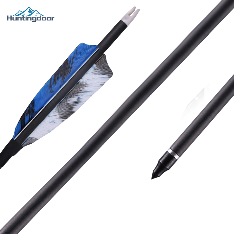 6/12pcs Huntingdoor Mixed Carbon Arrow 32 Inches Diameter 7.6 Mm Spine 400 For Compound/Recurve Bow And Arrow Archery