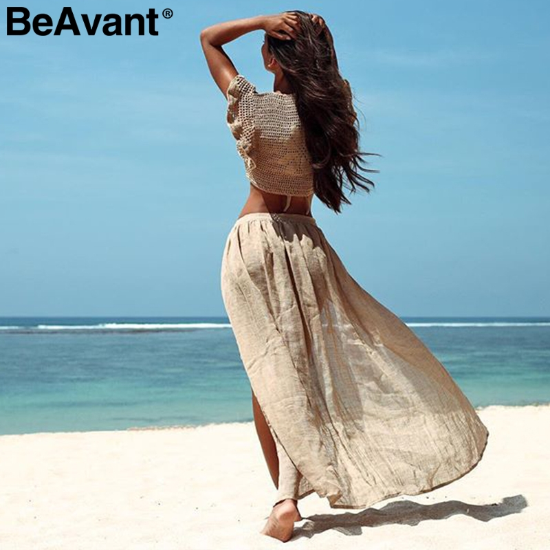 BeAvant 2019 Summer Beach Wear Women Cover Ups Sexy Lace Up Swimsuit Female Skirts See Through Holiday Cottons Sarong Skirts