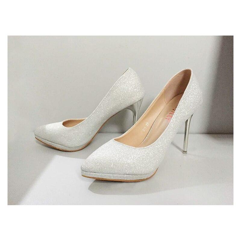 ФОТО Silver High-heeled Pointed Toe Satin Bridal Shoes Wedding sandal shoes Bridal shoes Elegant Pumps Wedding shoes  #M333