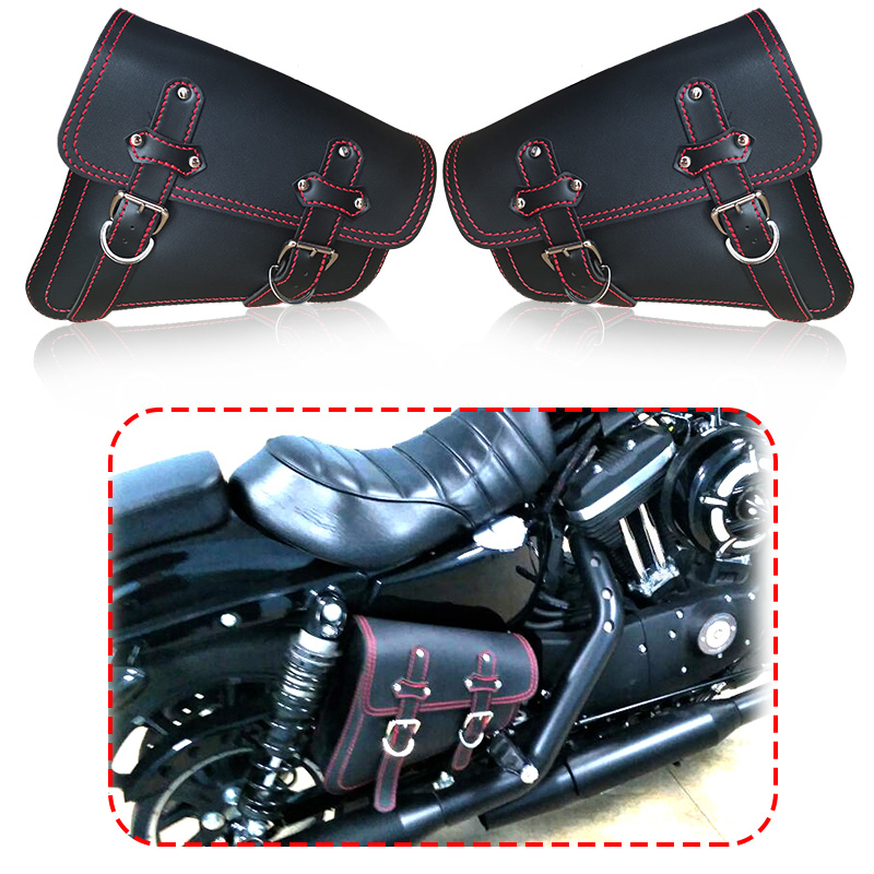 For Harley Sportster XL 883 New Black PU Leather Red Line Motorcycle Luggage Side Saddle Bags Rider Motorbike Panniers