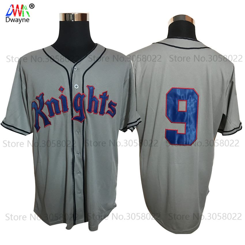 Roy Hobbs #9 New York Knights The Natural Movie Redford Baseball Jersey Throwback Mens Gray White New Material Jerseys Stitched