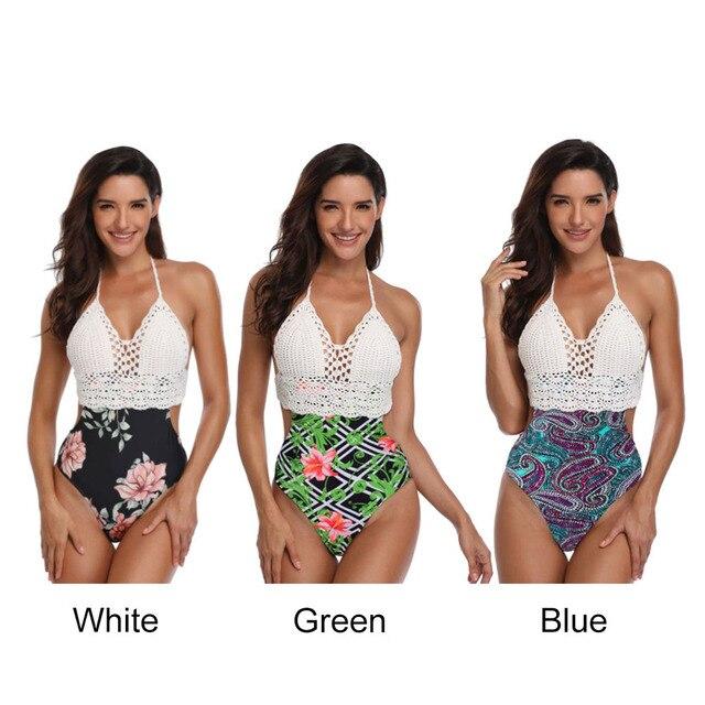 327480587528 Las mujeres Sexy siameses de punto traje baño Bikini explosión imprimir  europeo y americano