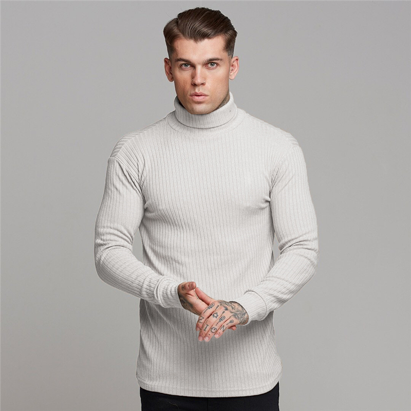 2019 Autumn New Men's Turtleneck Sweaters Male Solid Slim Fit Knitted Pullovers Fashion Casual Sweaters Knitwear Pull Homme
