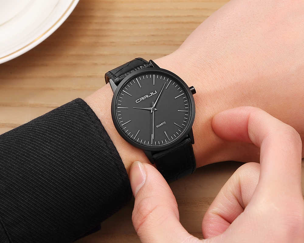 גברים האופנה שעון יד מקרה Ultra Thin עם מינימליסטי השחור קוורץ שעון יד תצוגה אנלוגית רצועת עור ספורט גברים