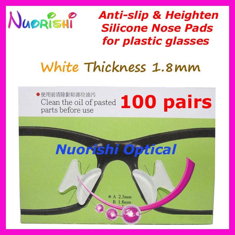 100 пар T2100 анти-скольжения силиконовые увеличивающие рост Носовые фиксирующие накладки Стикеры для ацетат Пластик очки солнцезащитные очки 1,8/2,5/2,8 мм - Цвет: Clear 18 Thickness