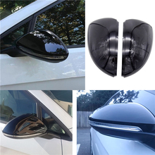 цена на 1 Pair Left/Right Black Caps Mirror Cover Mirror Housing Shell Rearview Wing Car Accessories For Volkswagen GOLF MK7 2013-2017