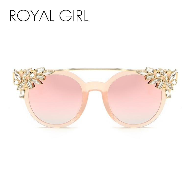 ROYAL MENINA Mulheres Senhoras de Cristal de Diamante Transparente Do Olho  de Gato Óculos De Sol Do Vintage Flat Top Quadro Reflexivo Óculos de Sol  UV400 ... 29fc151fcb