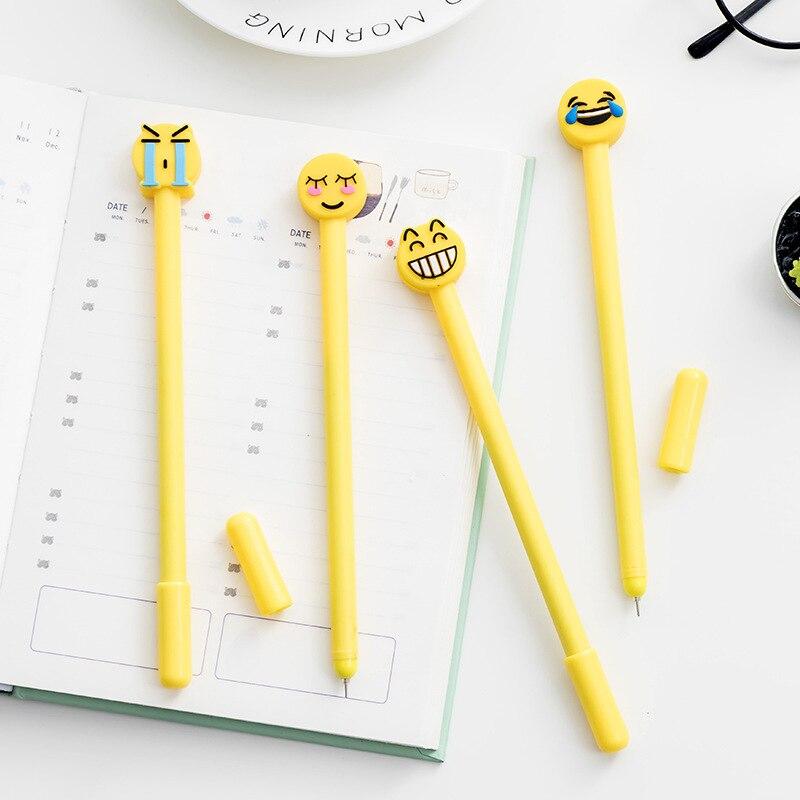 4 Pcs/pack Cute Emoji Gel Pen Kawaii Face Expression 0.5mm Black Ink Office Accessories School Supplies Free Shipping