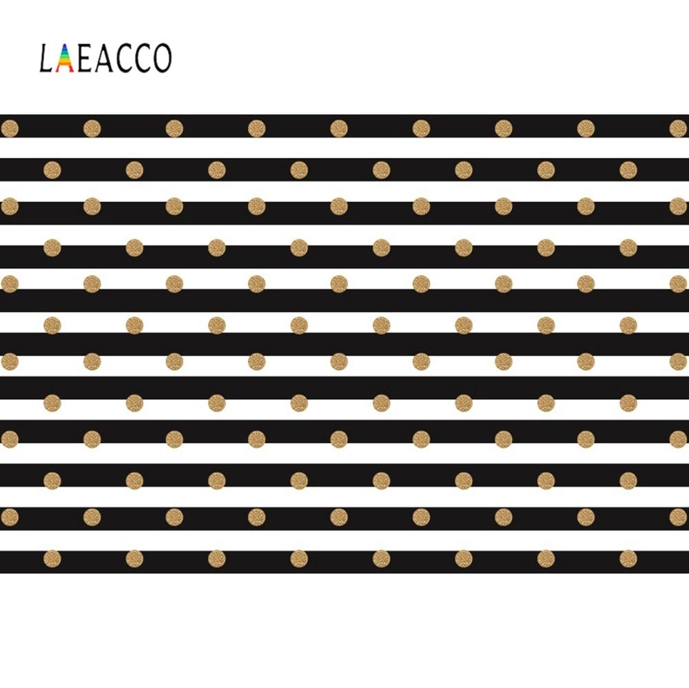 Laeacco Black White Stripes Polka Dots Golden Pattern Birthday Party Decor Photo Backgrounds Photography Backdrops Photo Studio Background Aliexpress