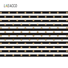 Laeacco Black White Stripes Polka Dots Golden Pattern Birthday Party Decor Photo Backgrounds Photography Backdrops Studio