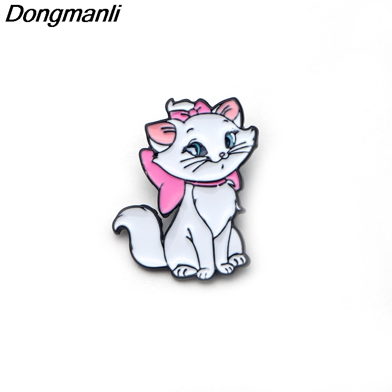 DMLSKY 20pcs/lot  fashion Marie Cat Enamel Pin cartoon cute Brooch badges for Clothing badges animals pins M1819