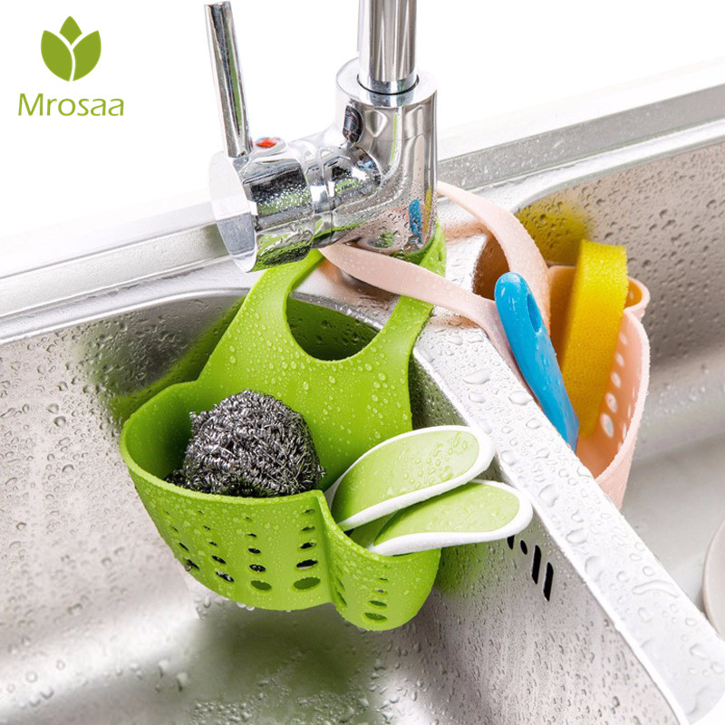 Mrosaa Kitchen Portable Hanging Drain Bag Basket Bath Storage Gadget Tools Sink Holder Bathroom Basin Faucet Sponge Holder