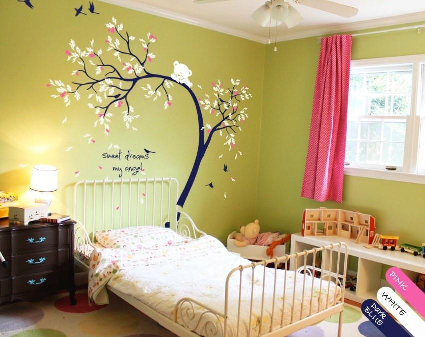 Enfants bébé salle de jeux douce belle décorative Sticker mural mignon escalade ours avec des oiseaux volants vinyle arbre motif décalcomanies W-848