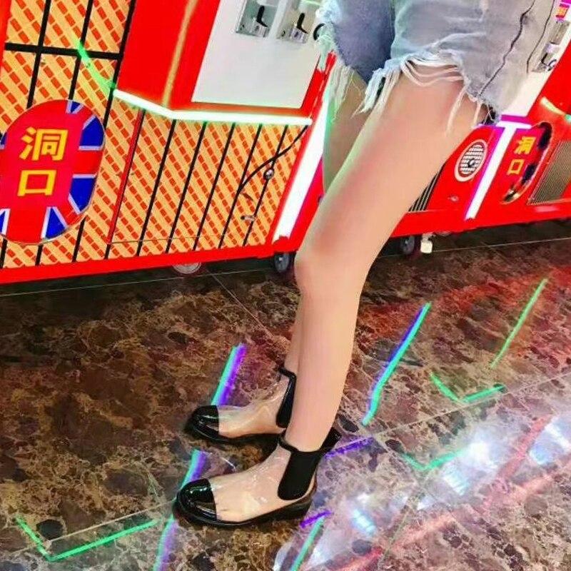 Rond Occident Bout Femmes Talon À Chunky En Caoutchouc Faible Transparent Chelsea Fille Martin As Supérieure Nouveau Show Pvc Chaussures as Bottes Show 4CwO4q