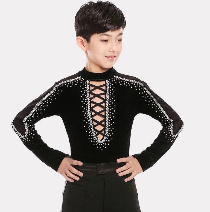 2018 Boys Turtleneck Rhinestone Ballroom/ Latin Dance Shirt Sexy Bandage Black Dance Tops Latin Performance Wear For Boys