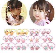 Jualan Hot 2pcs Cute Macarons Warna Rambut Tukang Indah untuk Little Girls Colorful Bunga Ponytail Rubber Band
