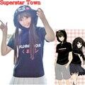 Anime japonés Kumamon Mujeres Kawaii Tops Con Capucha de Manga Corta de Verano Tops Camisa Harajuku Femenina Camiseta Superestrella Ciudad