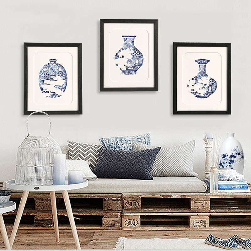 Chinese Zen style solid wood decorative painting Simple modern living room painting restaurant Xiangyun Blue and White Porcelain