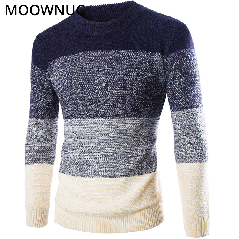 Men Sweater Pullover Homme Slim Keep Warm Personality Solid Autumn Smart Casual Male Sweaters Bottoming Shirt O-Neck MOOWNUC MWC