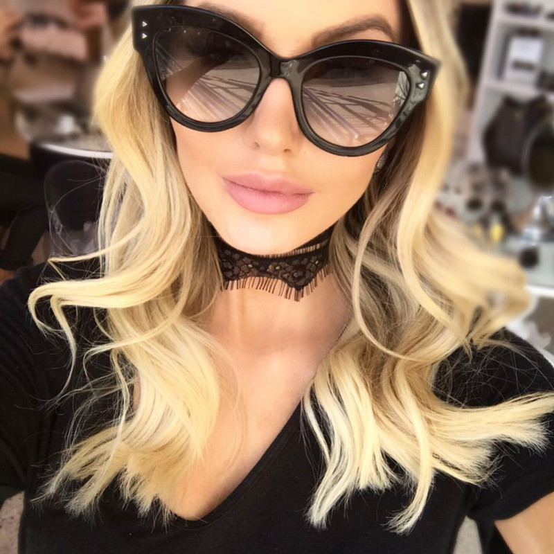 Luxury Cat Eye Óculos De Sol Das Mulheres Designer de Marca Retro Vintage Óculos de Sol Das Senhoras Das Mulheres do Sexo Feminino Óculos De Sol lunettes de soleil 1452R