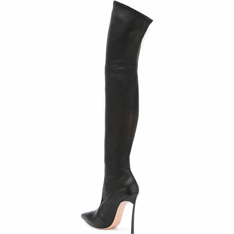 35-43 PU/หนังนิ่ม 2 ตัวเลือก plus ขนาด point toe ฤดูใบไม้ผลิเข่ารองเท้าผู้หญิงรองเท้า 2017 เข่ายาวรองเท้าโลหะรองเท้าส้นสูง
