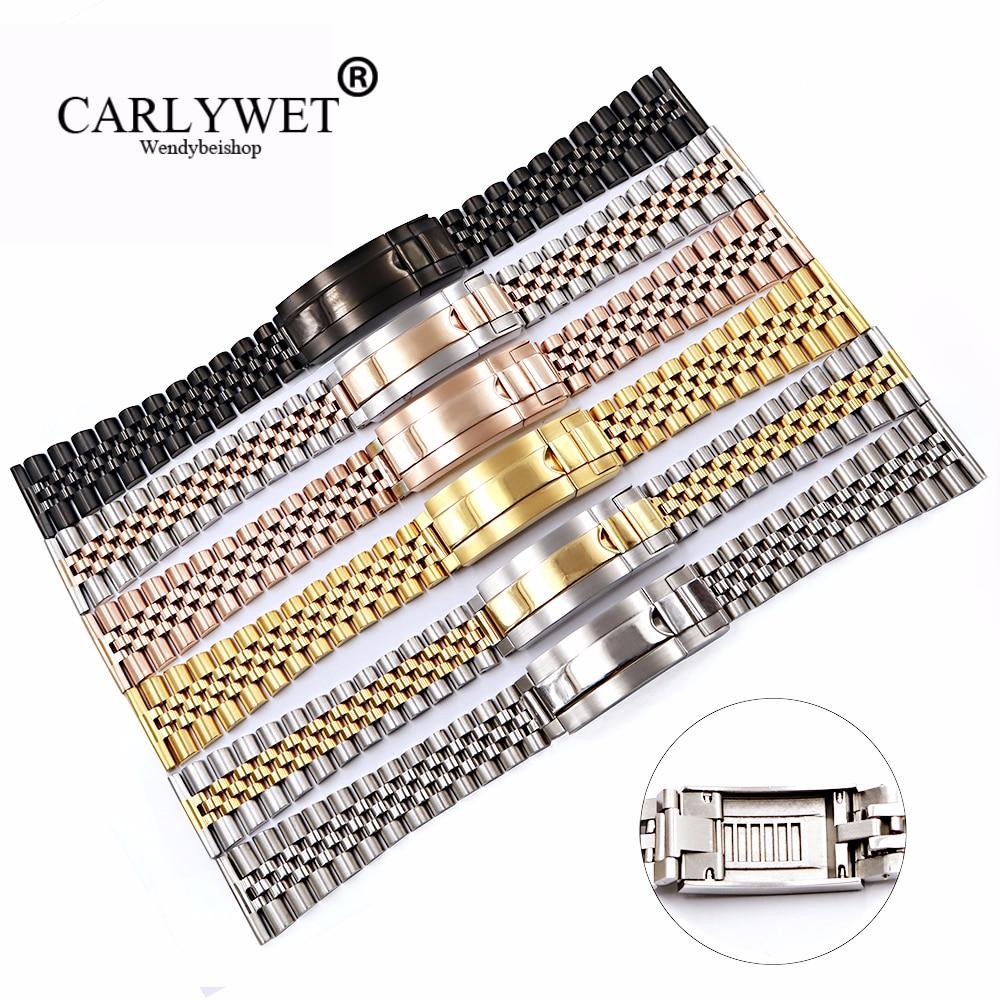 CARLYWET 20 22mm en gros en acier inoxydable glisse remplacement Bracelet de montre Bracelet Bracelet pour Omega IWC Tudor Seiko Breitling