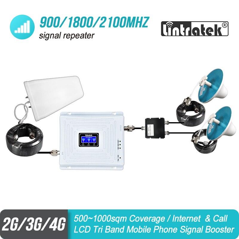 Grande couverture Tri bande Signal répéteur LCD affichage GSM 900 3G 2100 4G 1800 mhz cellulaire Booster amplificateur deux antennes d'intérieur ensemble #49