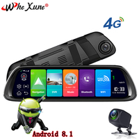WHEXUNE New Android 8.1 car DVR Camera 10 inch 4G streaming media rearview mirror GPS navigation recorder FHD 1080P dual lens
