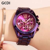 GEDI Business Women Watches Fashion Quartz Female Clock Women's Watch Stainless Steel Strap Ladies Wristwatch Luxury Hour reloj