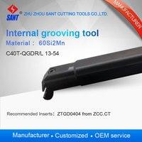 Zhuzhou sant Internal grooving and turning tool holder C40T QGDL13 54/ C40T QGDR13 54 with Zhuzhou insert ZTGD0404 MG